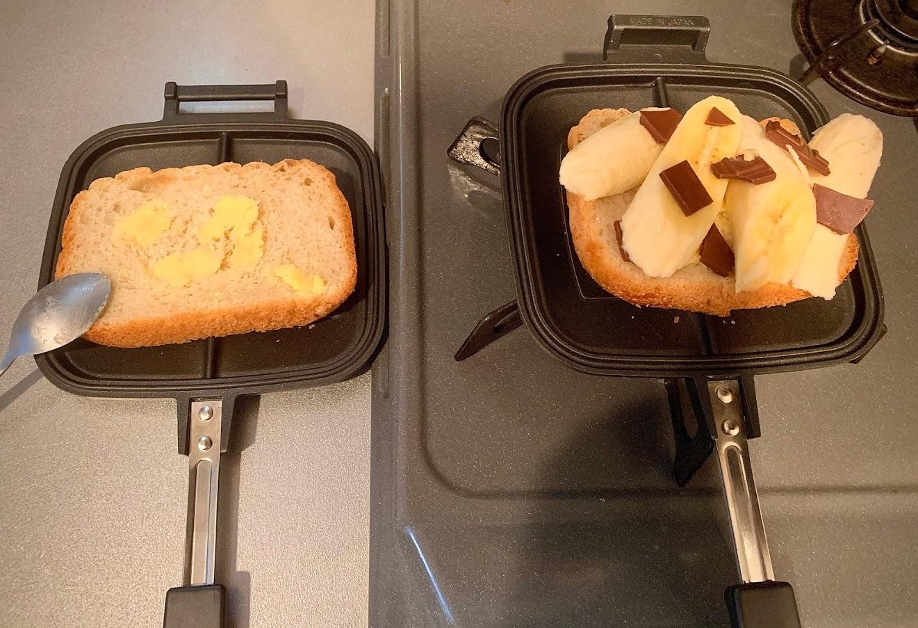バターチョコバナナホットサンドを焼く直前の状態